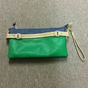 Multi-colored Navy,Green ,Creme Clutch.